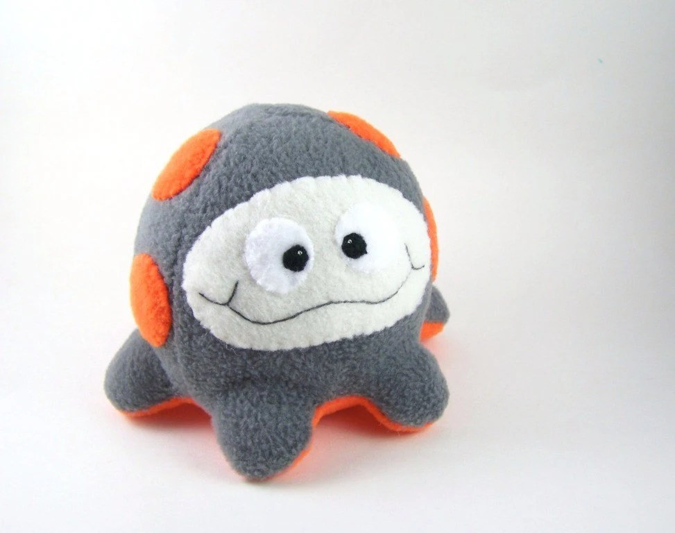 Handmade Plush  Microbe Neon Orange and Gray Fluffcrobe