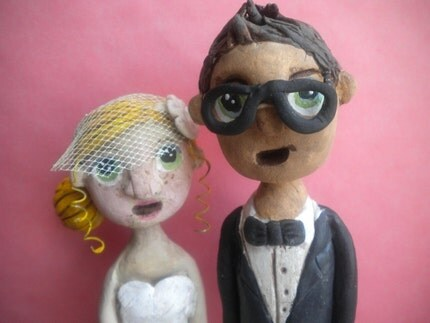 Custom Wedding Cake Topper-clay folk art