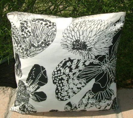Black and White Graphic Floral Pillow