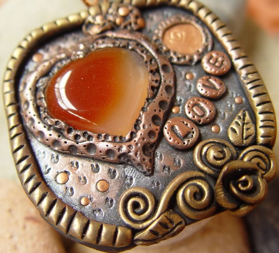 LOVE carnelian copper clay pendant