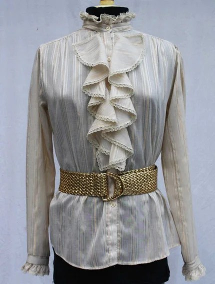 Vintage Secretary Blouse Off-White and Gold Ruffle Collar