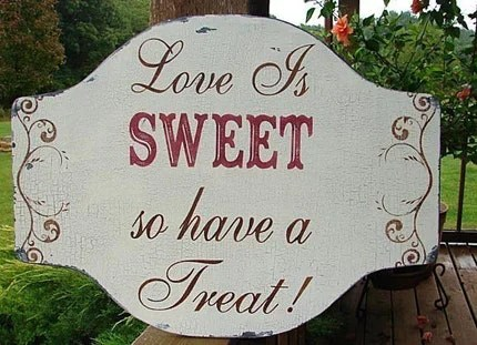 Wedding Sign LOVE IS SWEET 24X18 BAKERY CATERER COTTAGE Sign BRIDE SPECIAL Vintage Style Chippy Handmade