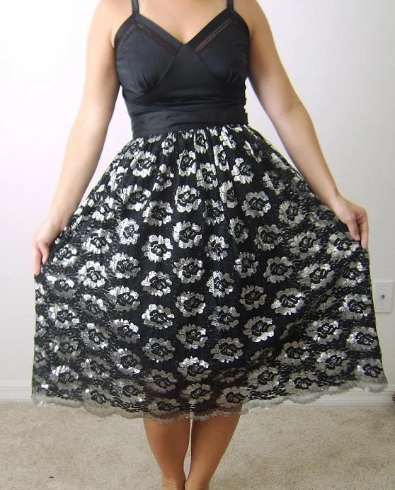 SALE...The Black Lace and Silver Floral Skirt.