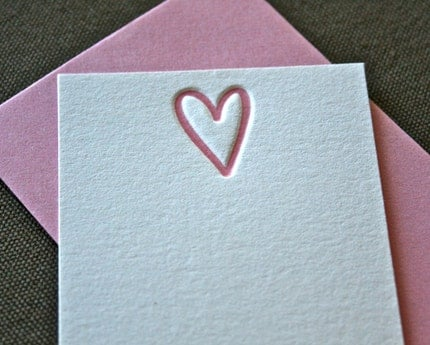 Heart Letterpress Enclosure Card