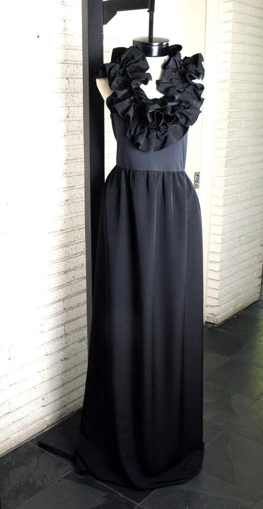 Black Ruffled Cocktail Maxi Dress