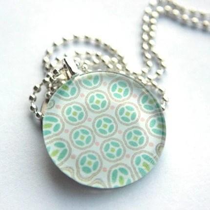 Funky Green Medium Circle Necklace Handmade