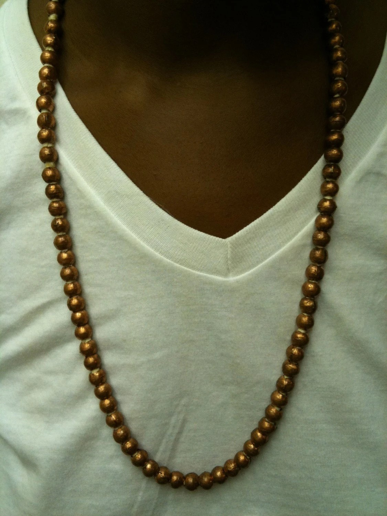 Large Rose Gold tone strung beads