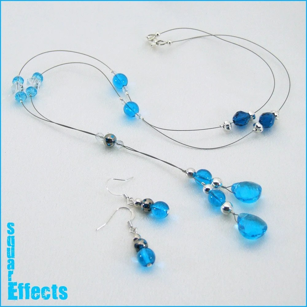 EBTW-on SALE-Turquoise blue Y necklace and earrings set