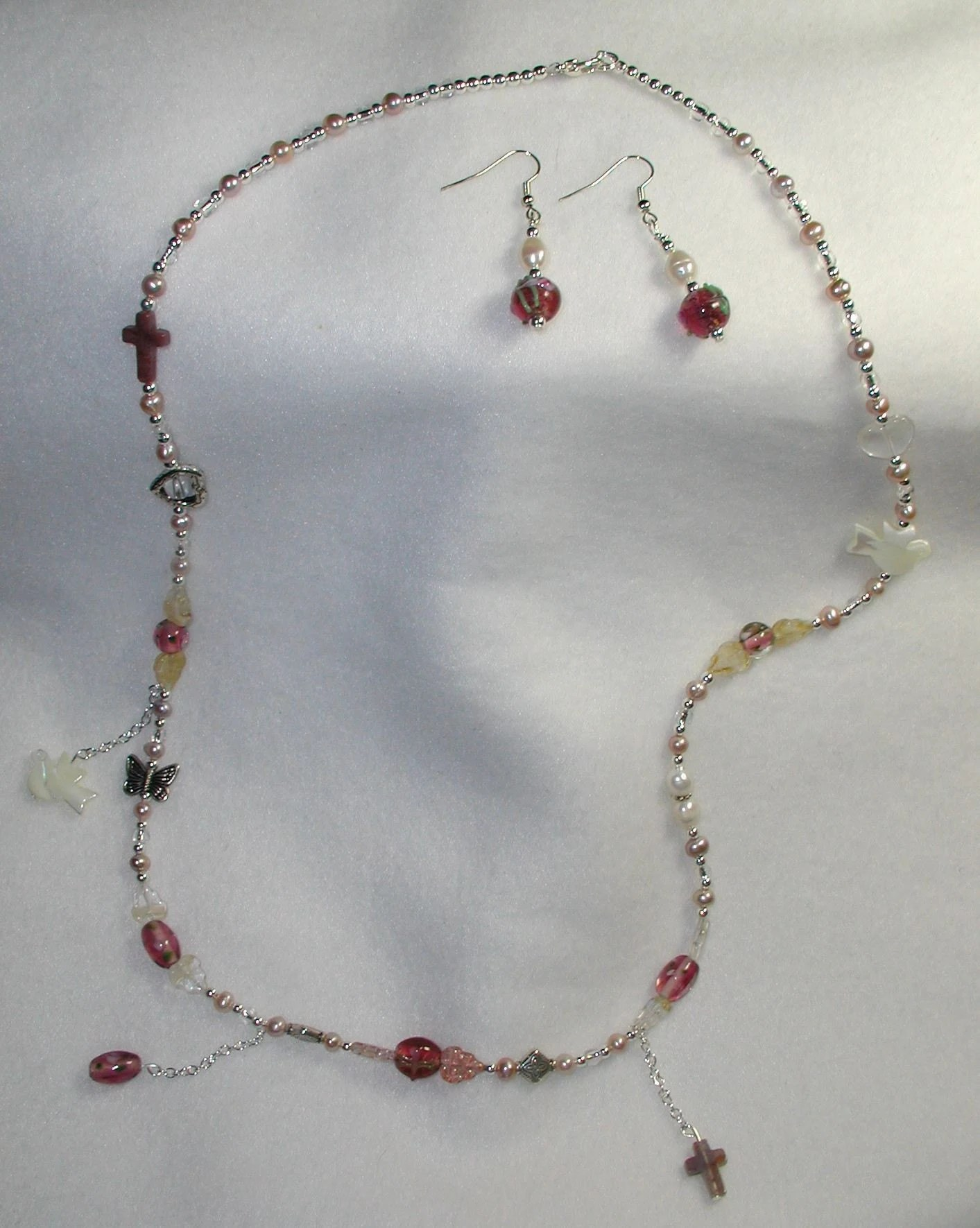 Long Necklace and Earring Set with Religious Symbols