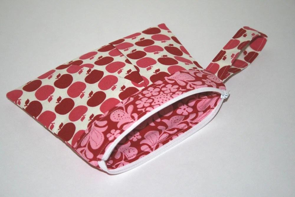 Pink Apples Wristlet