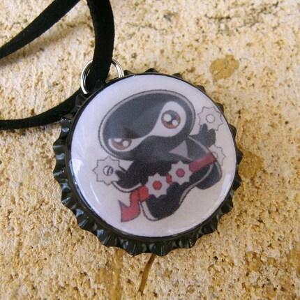 Little Ninja - Bottle Cap Pendant Necklace