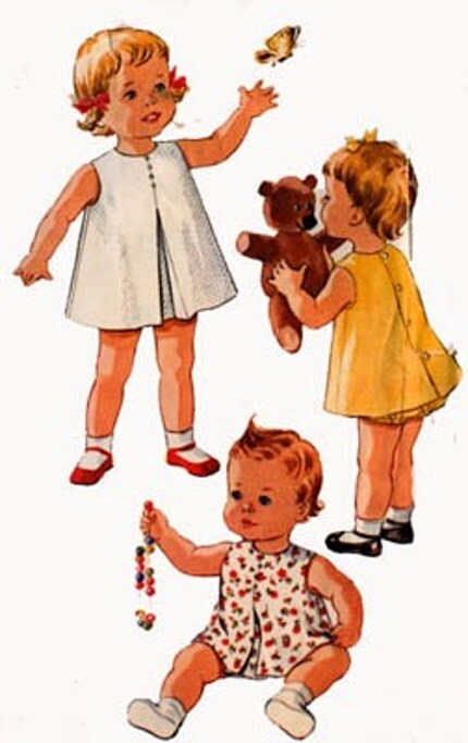 Vintage 60s McCalls 7221 Toddlers Inverted Pleat A Line Dress and Panties Size 6 months