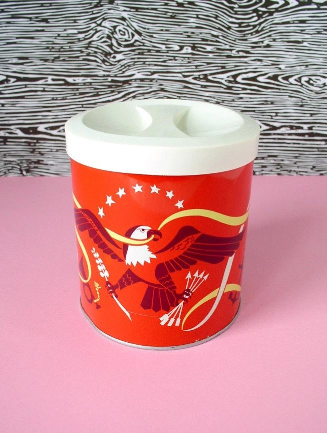 Patriotic red canister - vintage - NEW LOWERED PRICE