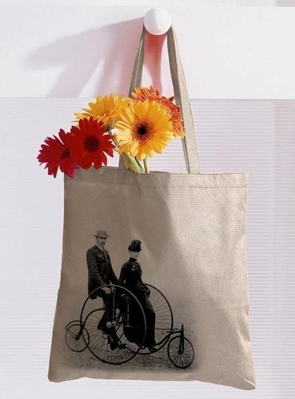 Bicycle Built For Two Cotton Canvas Tote
