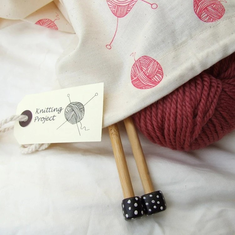 Hand printed Knitting Project Bag - Medium size