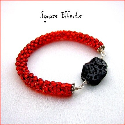 SALE - etsyBEAD Team - Bountiful Bracelets - Geothermal lava beaded bangle bracelet by Square Effects