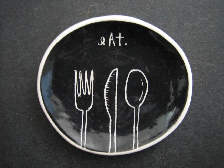 black EAT dish.
