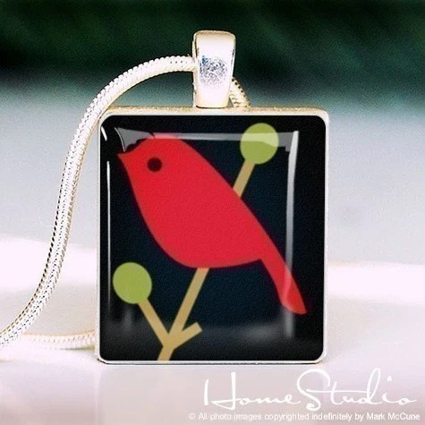Red Bird Scrabble Tile Pendant by HomeStudio