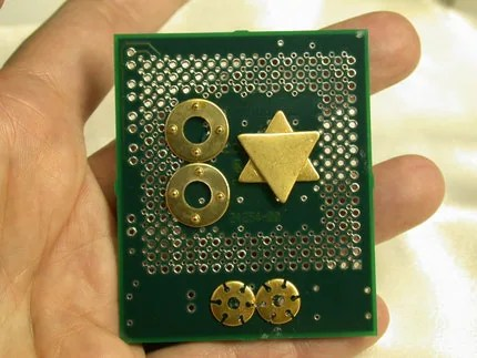 RECYCLED Computer CIRCUIT BOARD  MAGNET Judaica GO GREEN for HANNUKAH  and Forever After  for your FRIDGE
