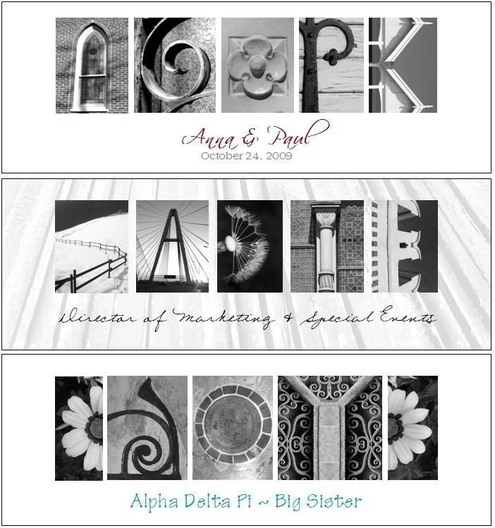 Your Name Spelled Out in Architecture Letter Photographs (Black and White Photos, WALNUT Frame)