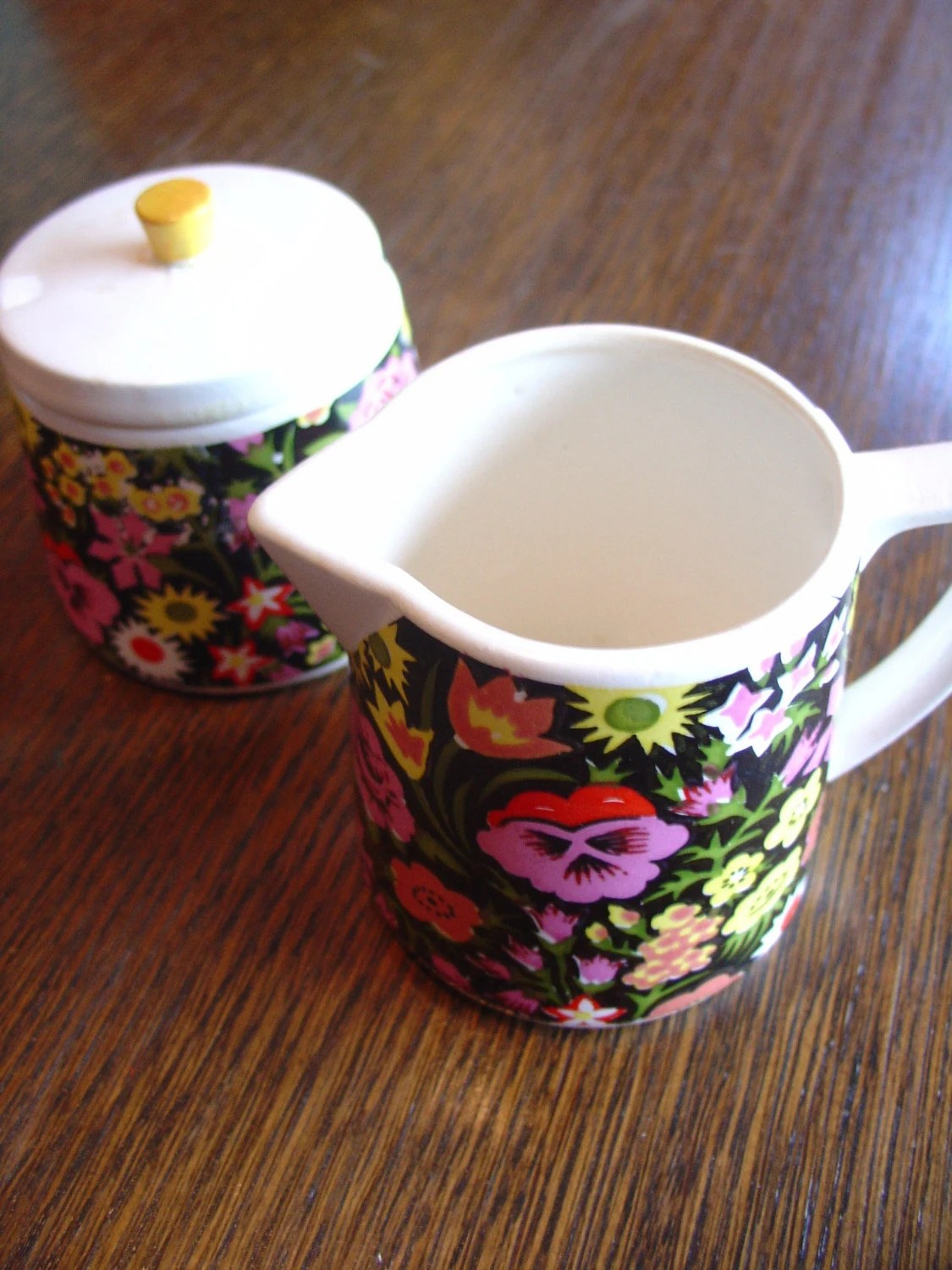 70s Floral Sugar and Creamer Set