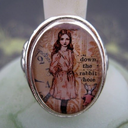 Alice Down the Rabbit Hole Sterling Silver Ring (Sizes 5-9)