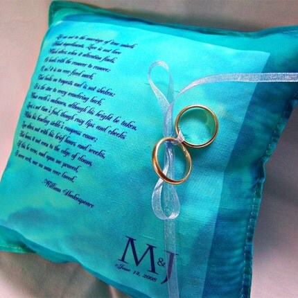 Something blue ring pillow with your custom text $37