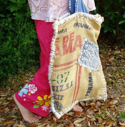 Burlap Beach Bag ,Etsy Handbag
