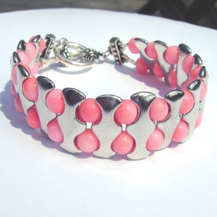 Pink Coral Cuff Style Bracelet