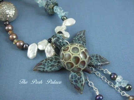 ThePoshPalace makes beautiful, high end jewelry.  I happen to love this little sea turtle, especially.  It is at once beautiful, elegant, and adorable.  See more at http://ThePoshPalace.etsy.com.