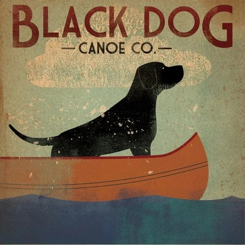 YART SALE -- BLACK DOG Canoe Company Original Illustration 12x12 inch Canvas wall art handmade Lab Retriever Middlebury Vermont