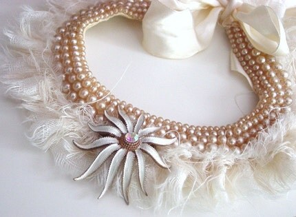 Ghost Bride fairytale romantic winter ruff neckpiece vintage art brooch