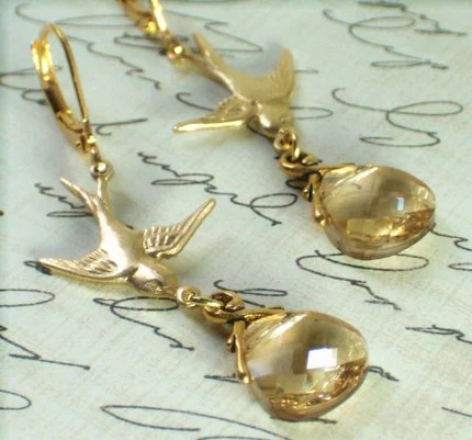 Swooping Sparrows with Golden Shade Swarovski Briolettes Earrings