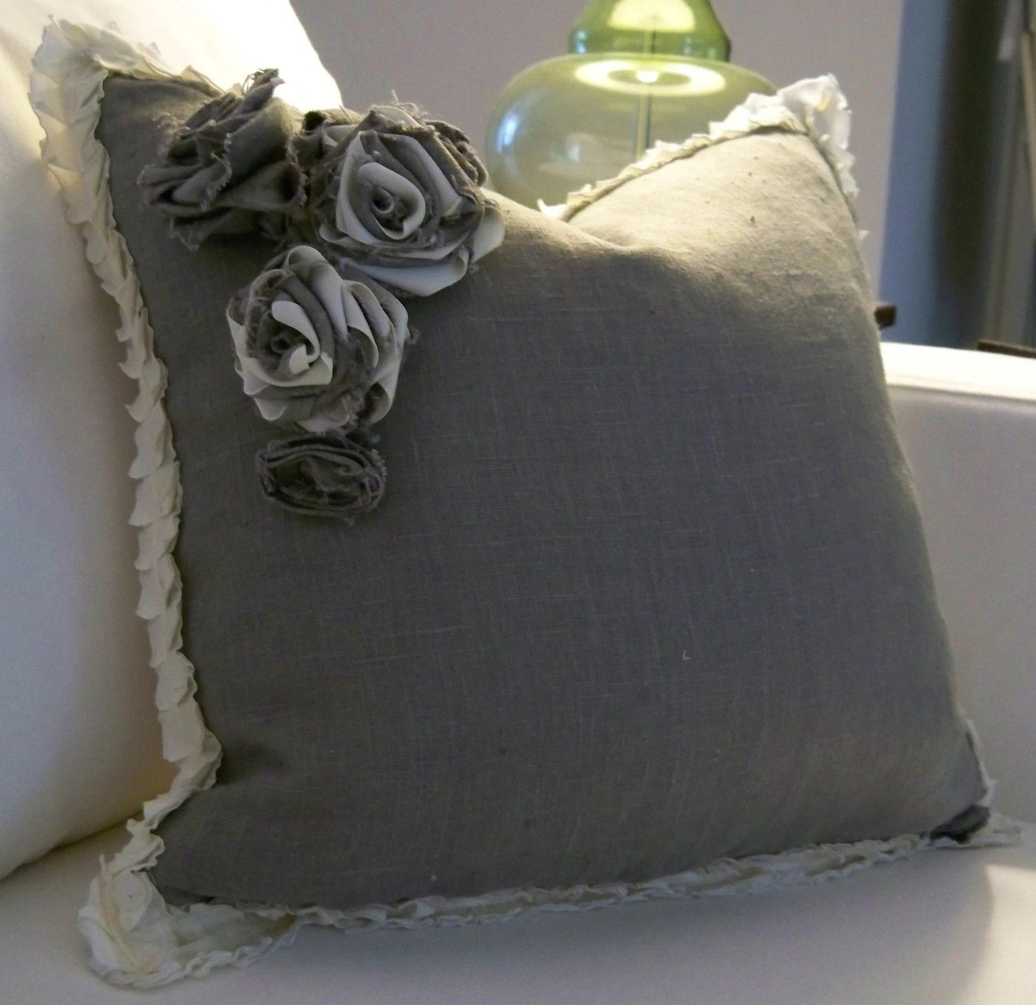Grey Linen Pillow with fabric Flowers (Flowers on Left)