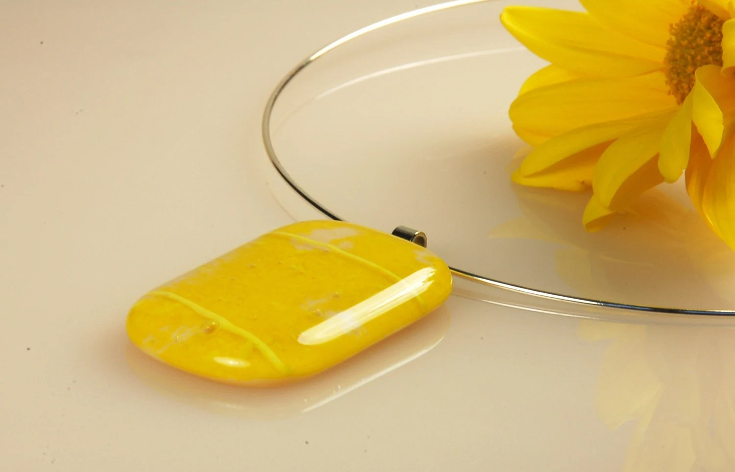 Mimosa - modern fused glass necklace
