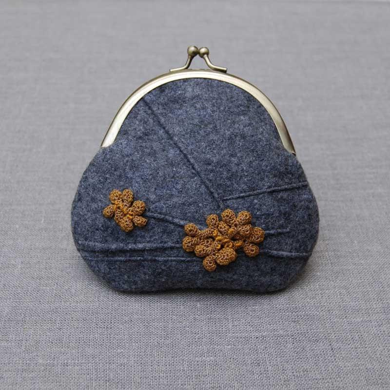 Lichen felt purse