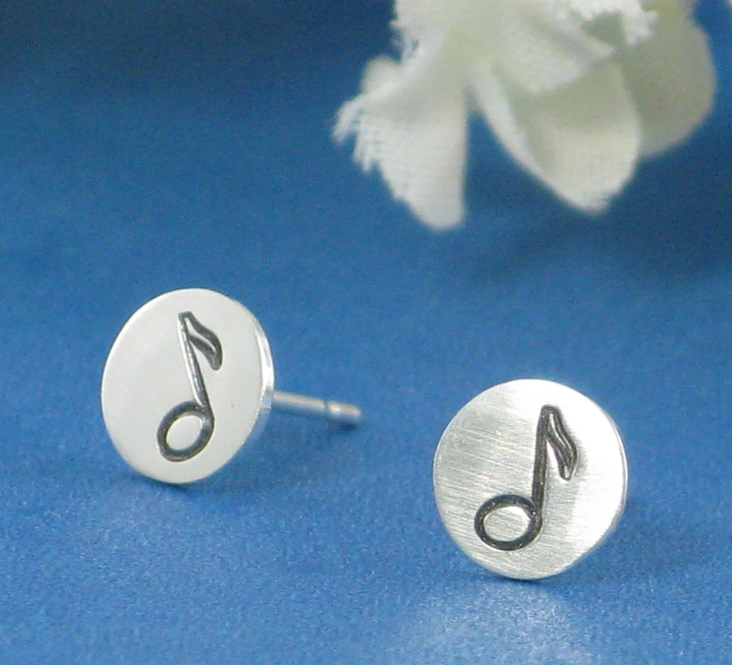 Music Note Stud Earrings - in sterling silver