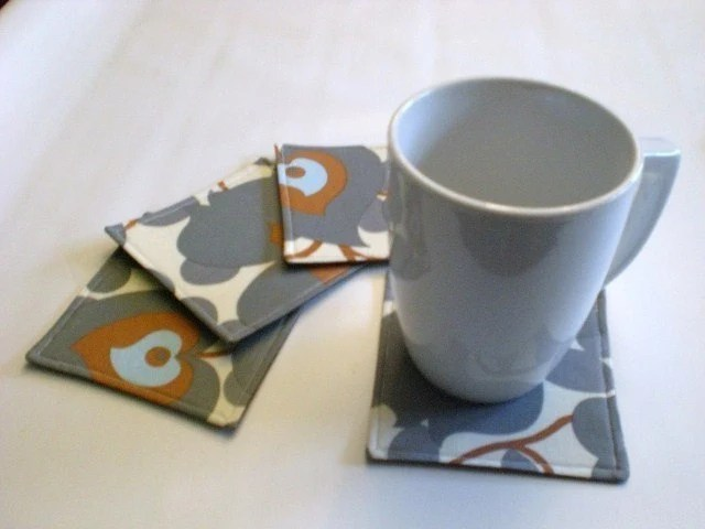 Set of 4 Coasters made w/ Amy Butler fabric  Morning Glory in Slate