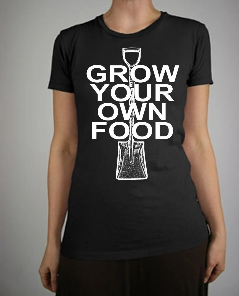 Grow Your Own Food Vintage Style War Depression Print Alternative Apparel Cap Sleeve Girls T-Shirt in Jet Black S, M, L, XL