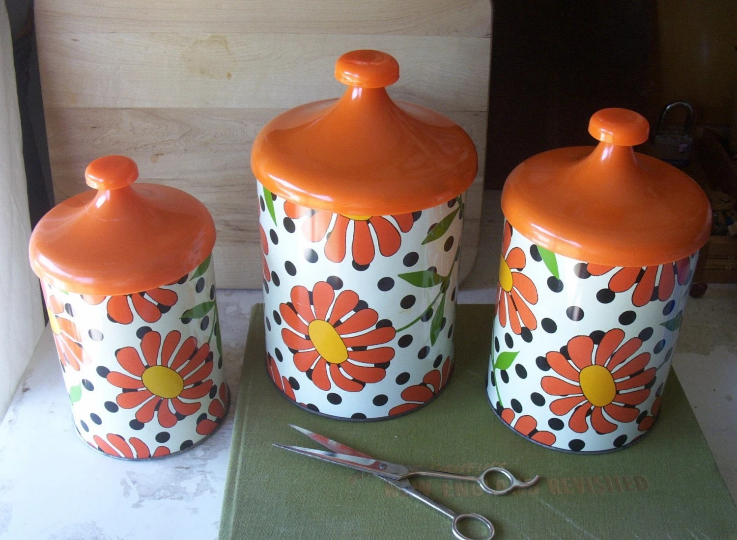 Vintage 1960 Kitchen Canister Set Polka Dots and Flowers Retro Home Decor