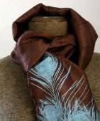 Peacock feather hand silkscreened woven silk scarf, fair trade, sky blue on brown