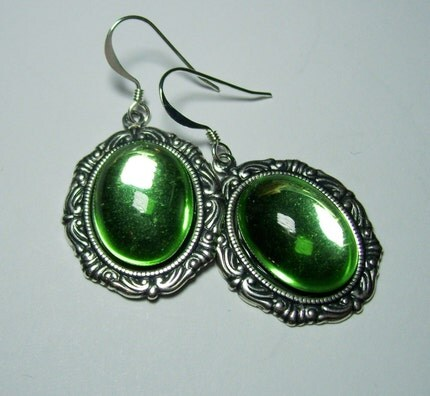 Antique Silver Genuine Vintage German Peridot Absinthe Green Glass Cabochon Gothic Lolita Steampunk Earrings