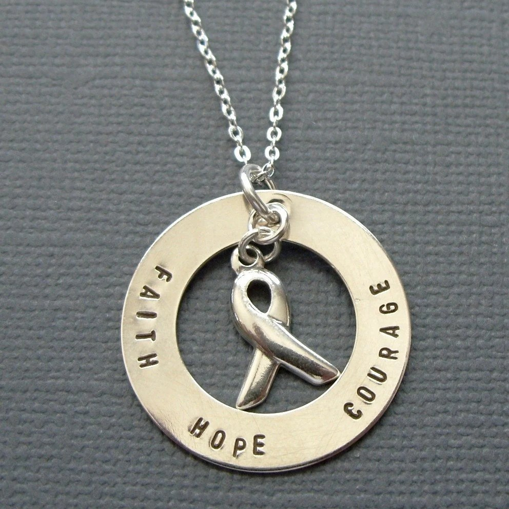 3. Faith Hope Courage Sterling Silver Awareness Necklace