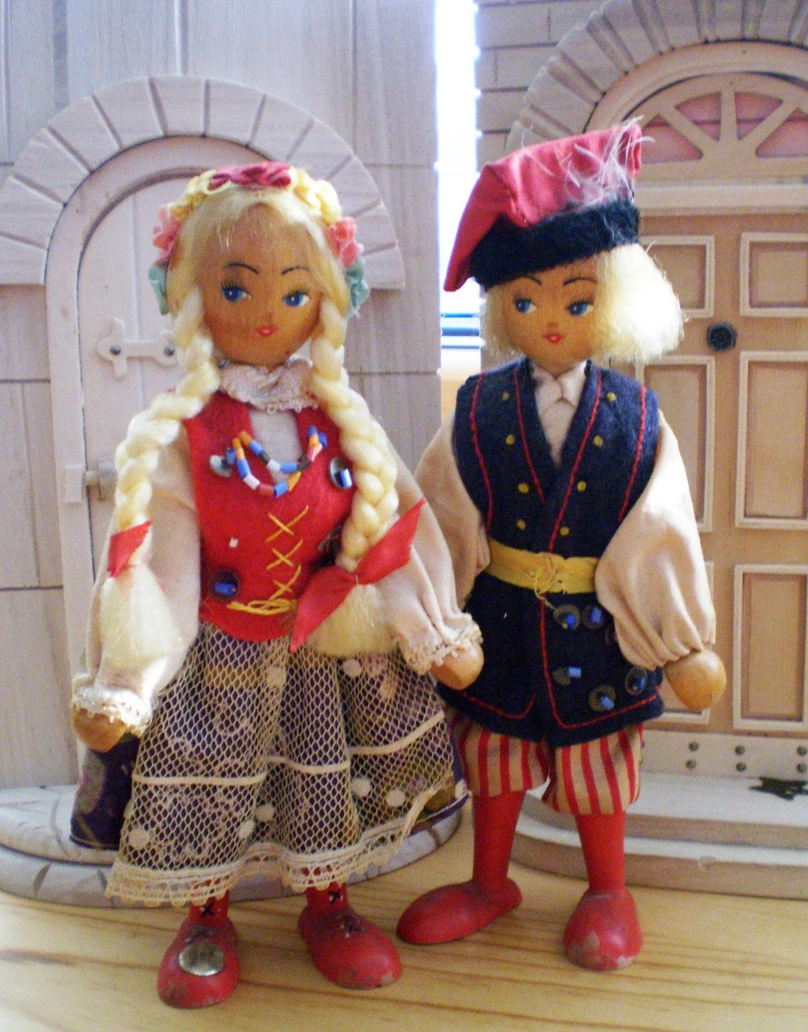 Vintage Wooden Polish Peg Doll Couple Dressed in Traditional Costumes Poseable Hand Painted Faces Hand Made