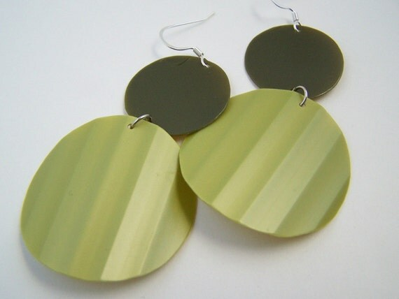 Olive and Avocado Upcycled Plastic Earrings