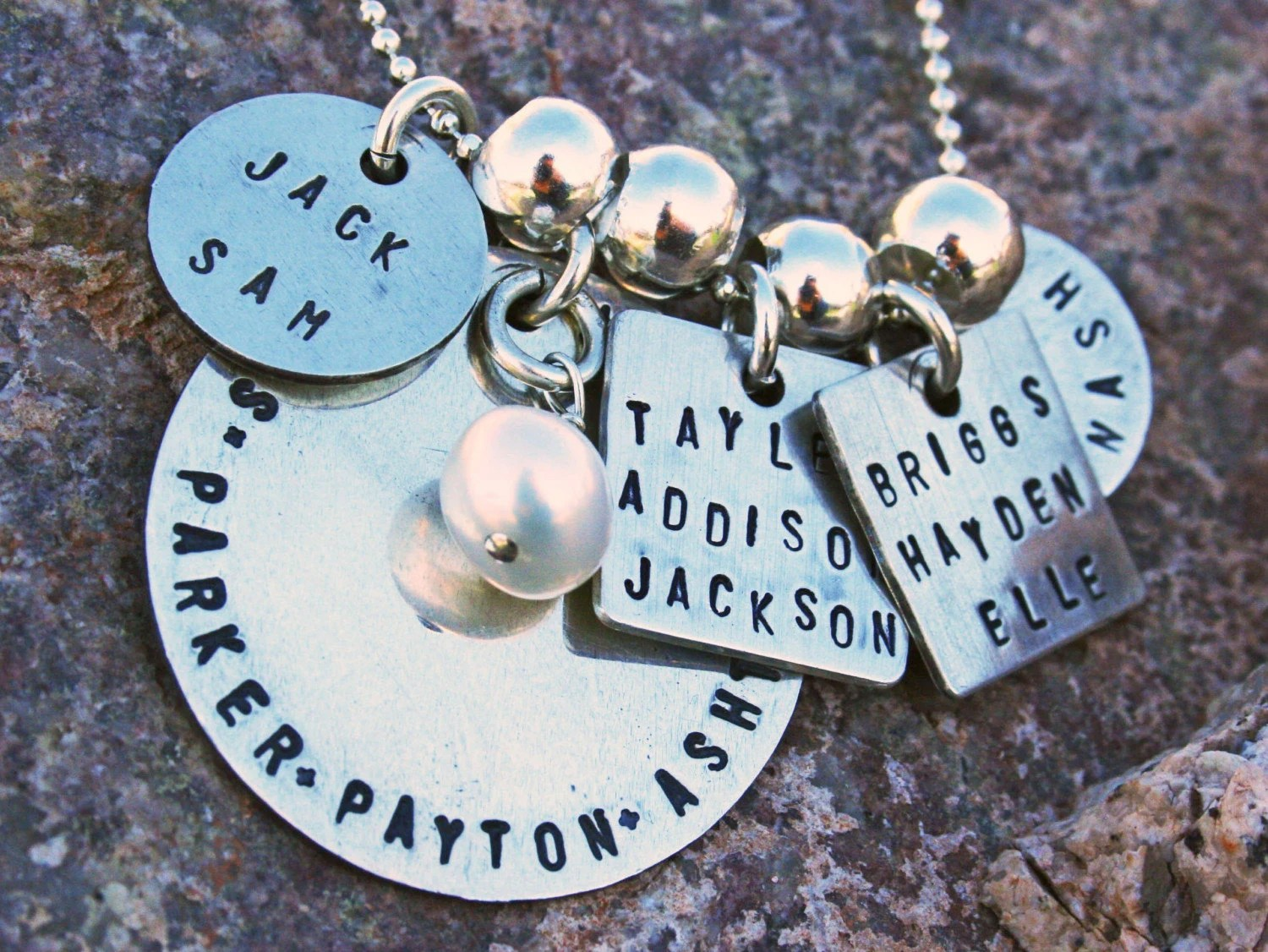 SALE Custom Family keepsake, sterling silver, 5 tag necklace with one charm