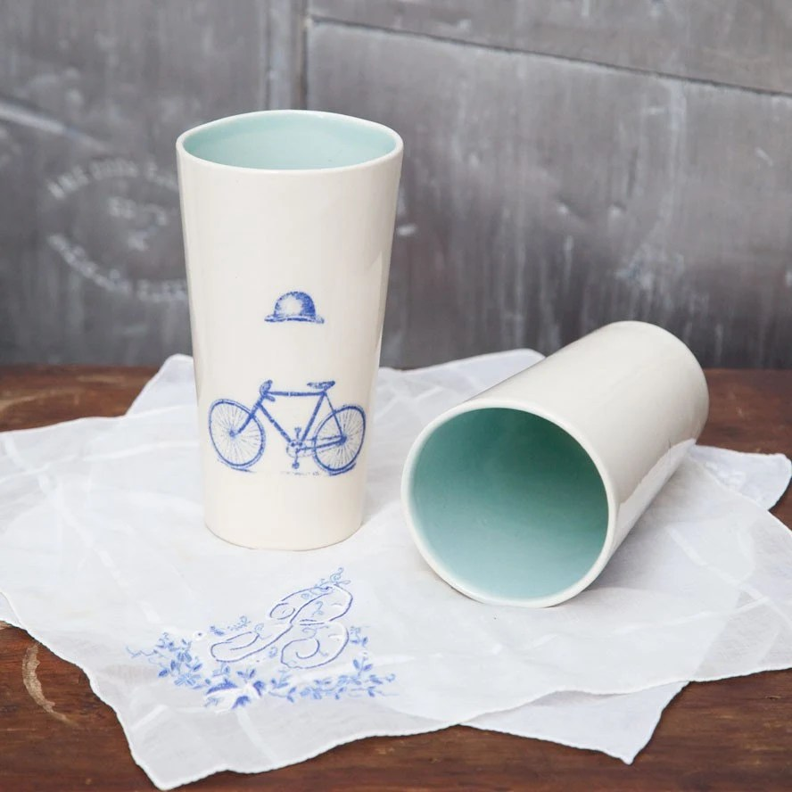 Pair of Surreal Cyclist Tumbler - Blue