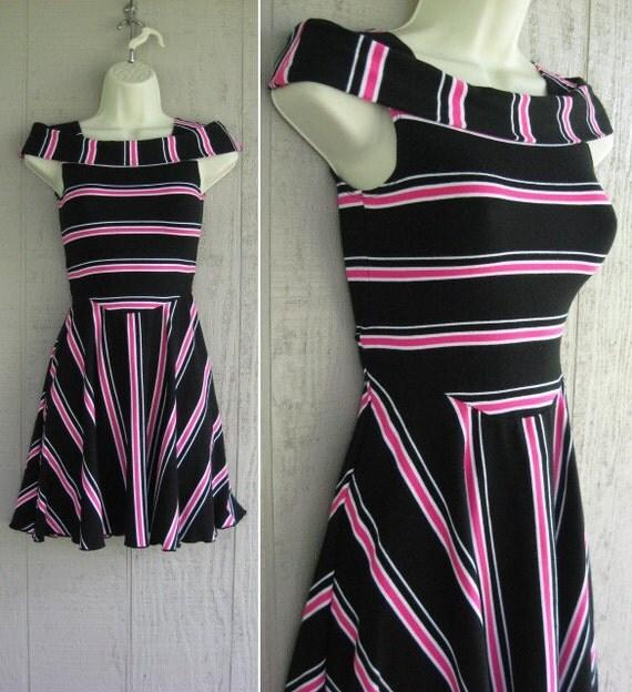Neon Pink 80s Mini Dress