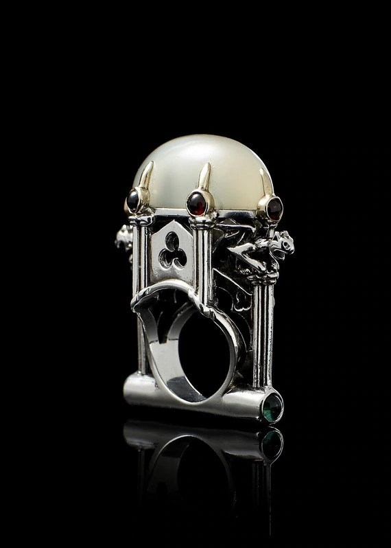 Metal Couture Cathedral Ring with Moonstone