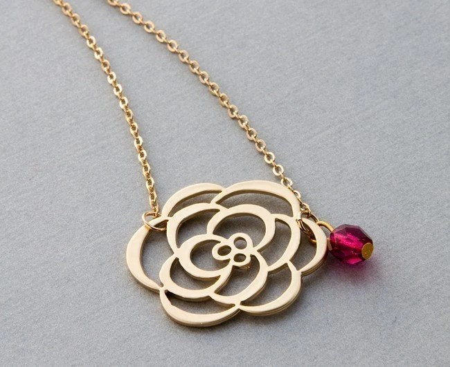 Delicate Gold Rose and Ruby Necklace